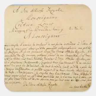 手書きの献呈の「Brandenburgerのコンチェルト スクエアシール