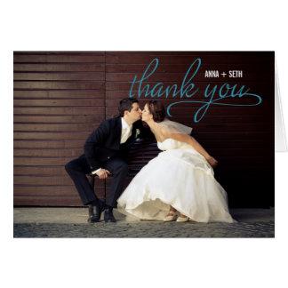 手書きの結婚式は写真カード-青感謝していしています カード
