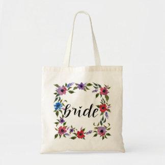 手書きの花嫁の原稿の水彩画の花 トートバッグ