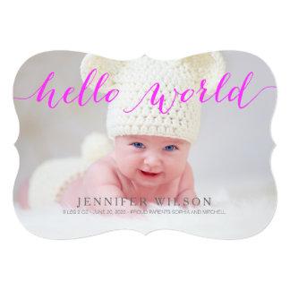 手書きの赤ん坊の誕生の発表の写真カード カード
