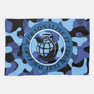 手榴弾が付いている青い軍のカムフラージュ キッチンタオル