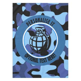 手榴弾が付いている青い軍のカムフラージュ テーブルクロス