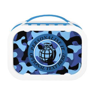 手榴弾が付いている青い軍のカムフラージュ ランチボックス