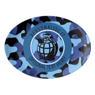 手榴弾が付いている青い軍のカムフラージュ 磁器大皿