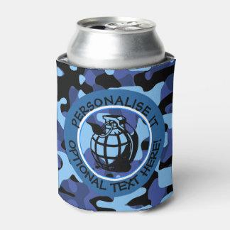 手榴弾が付いている青い軍のカムフラージュ 缶クーラー