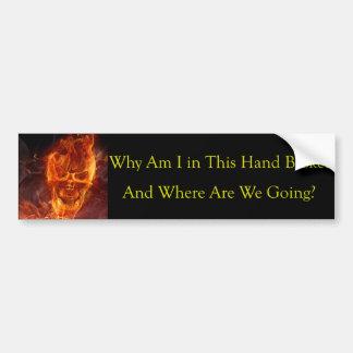 手篭の地獄へのおもしろいでクールで燃えるようなスカル バンパーステッカー