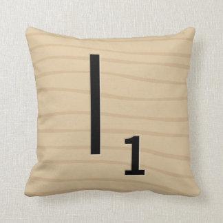 手紙のタイルの枕: 木I/J (17の5) クッション