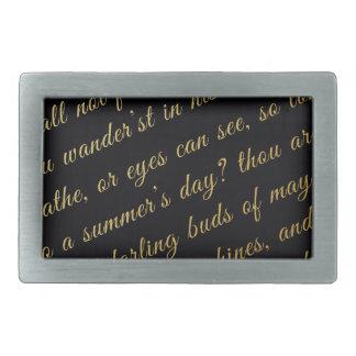 手紙の原稿の模造のな金ゴールドのタイポグラフィの詩歌の黒 長方形ベルトバックル