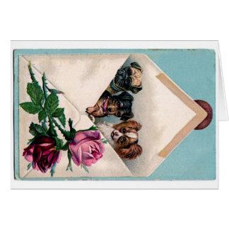 手紙の挨拶状のかわいいヴィンテージの子犬 カード