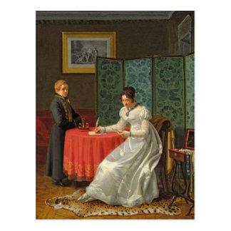 手紙を書いている女性 ポストカード