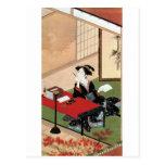 手紙を書く女、手紙、Shunshoを書いている春章の女性 葉書き