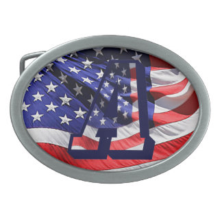 """手紙""""A""""のベルトの留め金の米国旗 卵形バックル"""