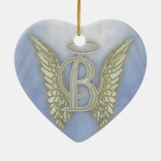 手紙Bの天使のモノグラム セラミックオーナメント