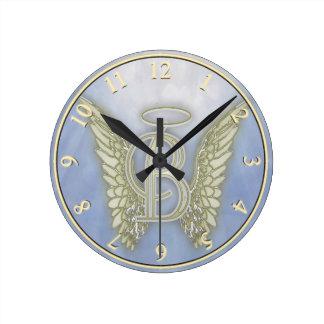 手紙Bの天使のモノグラム ラウンド壁時計