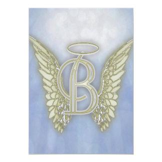 手紙Bの天使のモノグラム 12.7 X 17.8 インビテーションカード