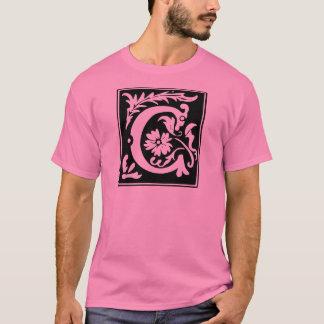 手紙Cのモノグラム Tシャツ