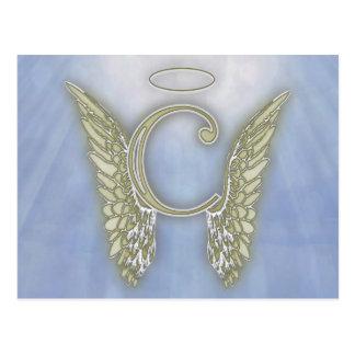 手紙Cの天使のモノグラム ポストカード