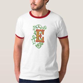 手紙Eのアルファベットのつる植物 Tシャツ