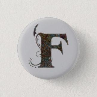 手紙F -正方形ボタン 3.2CM 丸型バッジ