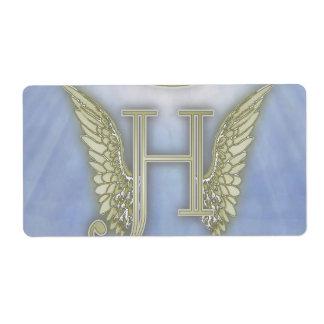 手紙Hの天使のモノグラム ラベル