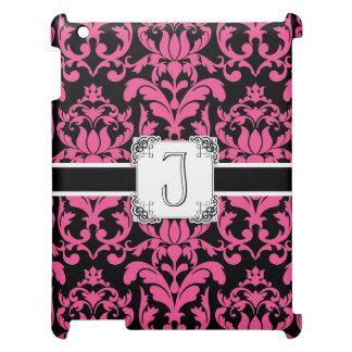 手紙Jのモノグラムの花のダマスク織のタイポグラフィスクロール iPad CASE