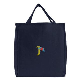 手紙Jの傘のモノグラムによって刺繍されるバッグ 刺繍入りトートバッグ