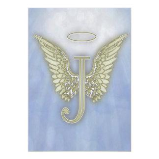 手紙Jの天使のモノグラム カード