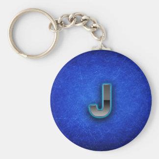 手紙J -ネオン青い版 キーホルダー