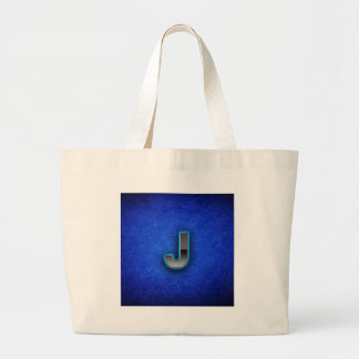 手紙J -ネオン青い版 ラージトートバッグ