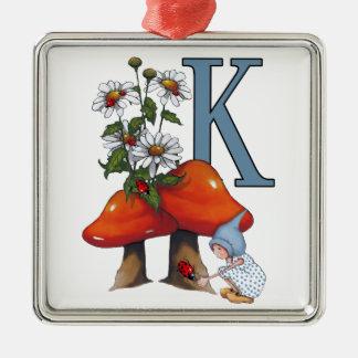 手紙Kのイニシャル、Toadstools、格言、てんとう虫 メタルオーナメント