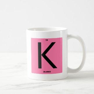 手紙Kのピンク コーヒーマグカップ