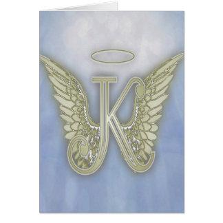 手紙Kの天使のモノグラム グリーティングカード
