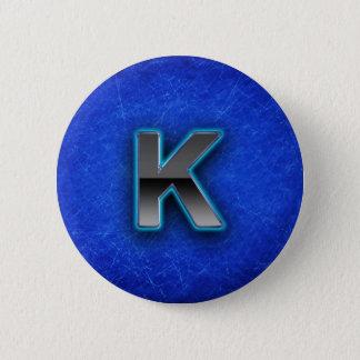 手紙K -ネオン青い版 5.7CM 丸型バッジ