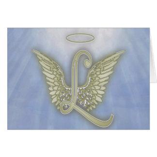 手紙L天使のモノグラム カード