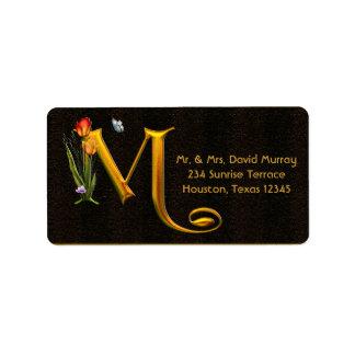 手紙Mのモノグラムのチューリップの蝶アドレス・ラベル ラベル