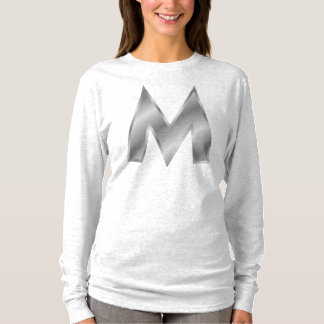 手紙Mのモノグラムの女性のHanesのNano袖 Tシャツ