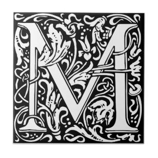 手紙Mの中世モノグラムのヴィンテージのイニシャル タイル