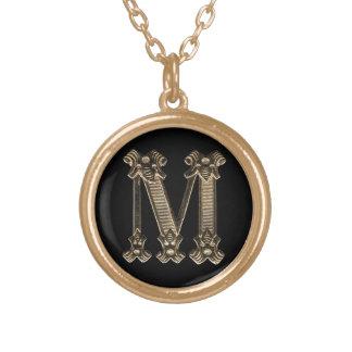 手紙Mの円のネックレス ゴールドプレートネックレス