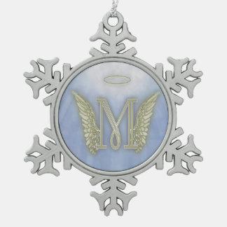 手紙Mの天使のモノグラム スノーフレークピューターオーナメント