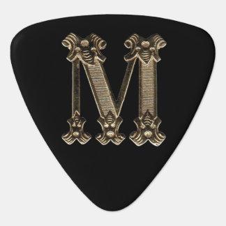 手紙Mの金最初のモノグラム ギターピック