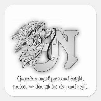 手紙Nの天使のモノグラムのアルファベットのイニシャル スクエアシール