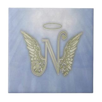 手紙Nの天使のモノグラム タイル