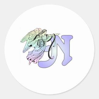 手紙Nの最初のモノグラムの守り神の青 ラウンドシール
