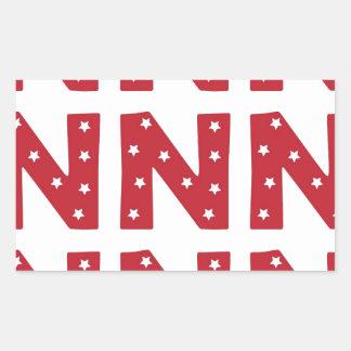 手紙N -えんじ色の白い星 長方形シール
