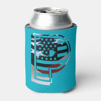手紙Pのモノグラムのイニシャル愛国心が強い米国の旗 缶クーラー