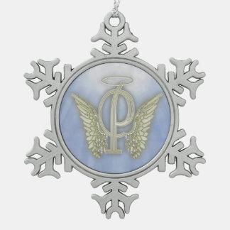 手紙Pの天使のモノグラム スノーフレークピューターオーナメント