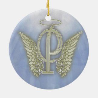 手紙Pの天使のモノグラム セラミックオーナメント
