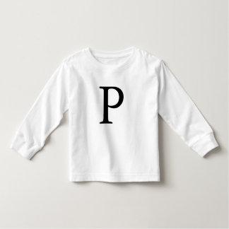 手紙Pの最初のモノグラムのなモノグラムの黒のTシャツ トドラーTシャツ