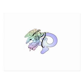 手紙Pの最初のモノグラムの守り神の青 ポストカード
