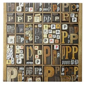手紙P 正方形タイル大